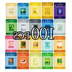 100 PCS Korean Essence Facial Mask Sheet, Moisture Face Mask