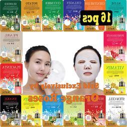16 pcs Ultra Hydrating Essence Facial Mask Sheets  16 types
