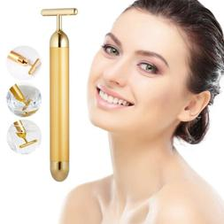 24K Gold Beauty Bar Facial Roller Face Vibration Skincare Ma