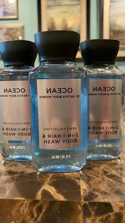 3 Men's OCEAN TRAVEL size 2-In-1 Hair  Body Wash 3 oz Bath &