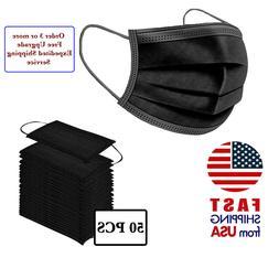 50 PCS BLACK Color Face Mask Mouth & Nose Protector Respirat