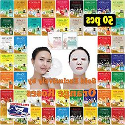 50 pcs Ultra Hydrating Essence Mask, Korean Facial Mask She