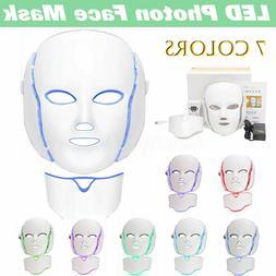 7 Colors LED Light Photon Face Neck Mask Rejuvenation Skin T