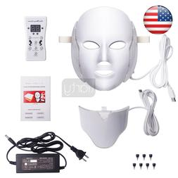 7 COLOURS LED LIGHT PHOTON THERAPY FACE NECK MASK TREATMENT