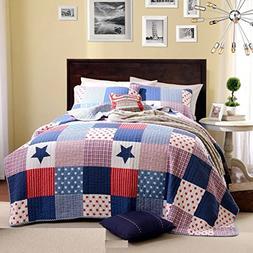 Artextile Blue Stars Print Kids Boy Bedding Skincare Cotton