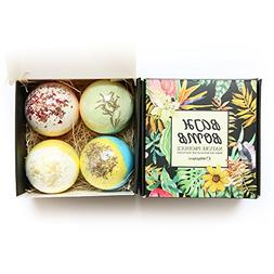 4 Pcs/Box Bath Bombs Kit Ultra Lush Spa Fizzies Natural Rose
