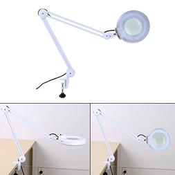 5X/8X Desk Magnifier Lamp, Table Lamp Swivel Adjustable Clam