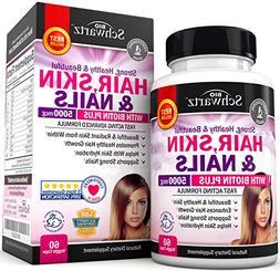 Hair Skin and Nails Vitamin with Biotin 5000. Promotes Hair