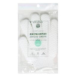 Earth Therapeutics Hydro Exfoliating Gloves, White, 1 pair