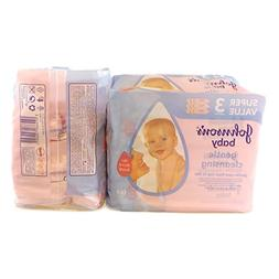 LOT of 3 Johnson's Baby Skincare Wipes,56 Count Per Pack