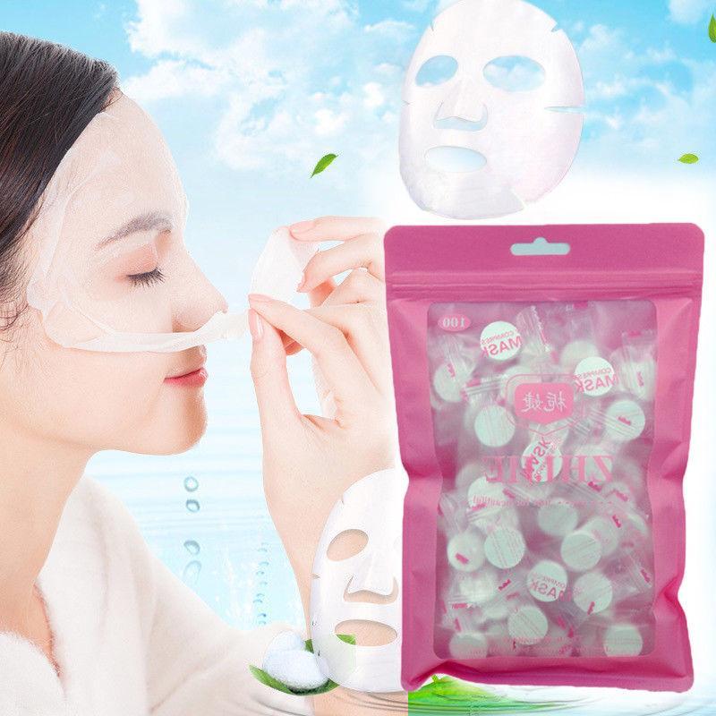 100 pcs Compressed Facial Face Cotton Mask Sheet DIY Natural