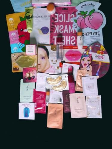 30 Piece High End Nice Skincare/Makeup K-Beauty Samples And Size Masks