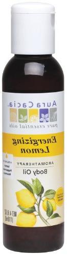 Aura Cacia Body Oil, Energizing Lemon, 4 Fluid Ounce