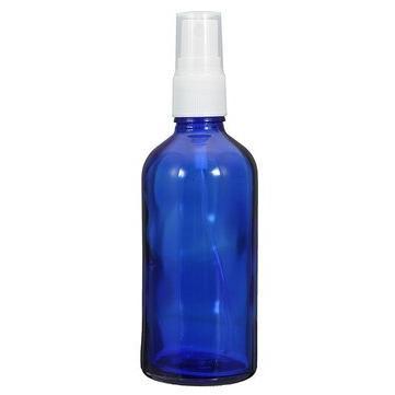 empty blue glass bottle refilled