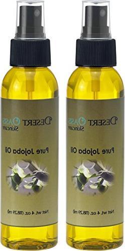 Pure Golden Jojoba Oil, 2 Pack, 4 fluid oz , Cold Pressed, N