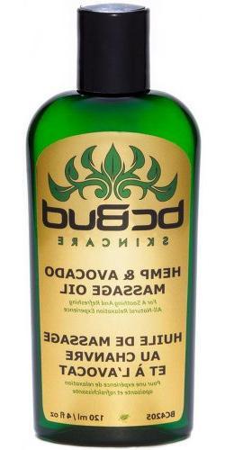 Hemp Massage Oil, All Natural, Unscented for Sensitive Skin,
