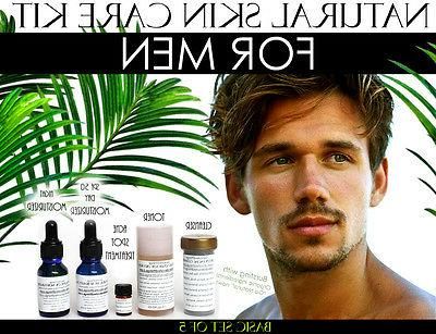 Natural Skin Care Kit For Men, Oily Skin, Large Pores, and A