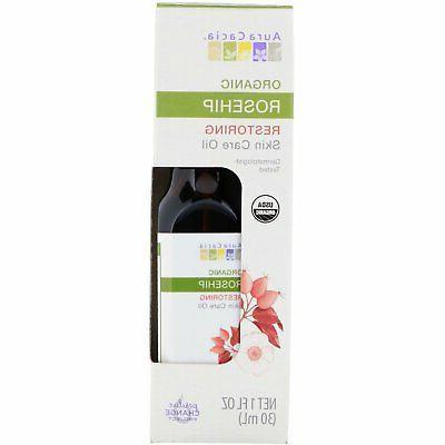 Aura Cacia Organic Restoring Rosehip Oil,  Skin Care Oil  L