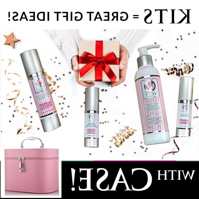 Organic Skincare Kit/Set 4-Steps w/Cosmetic Tote - Choice of