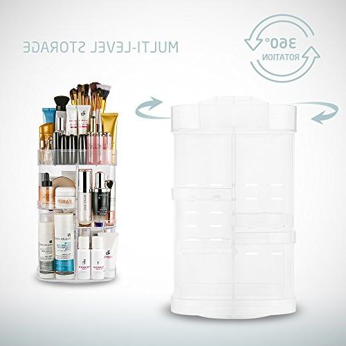 Jerrybox Makeup Adjustable Professional Organizer, Compact Size Large Fits Different Cosmetics and Accessories Square