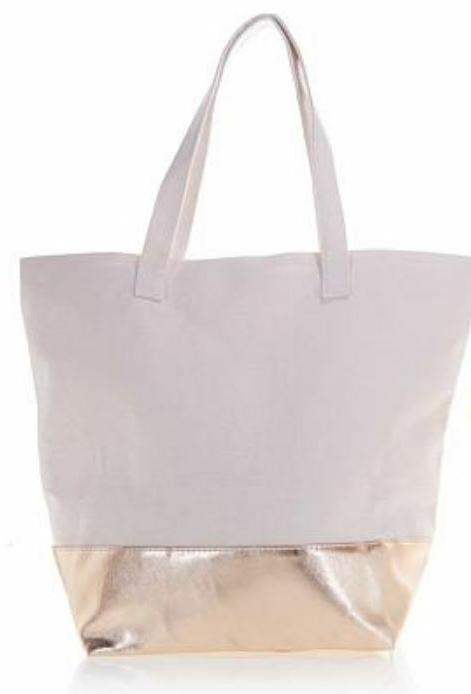 SERIOUS SKINCARE Tote  Pink with Metallic Bottom NEW!
