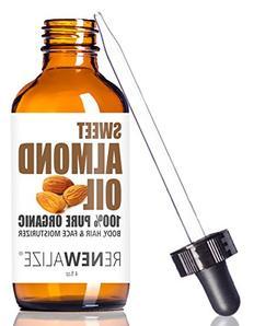 ORGANIC SWEET ALMOND OIL MOISTURIZER - in 4 oz Glass Bottle