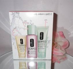 NEW CLINIQUE 3-Step Skin Care Cleanser/Toner/Moisturizer -Co