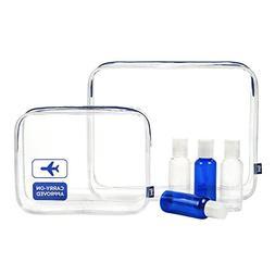 TSA-Approved Clear Travel Toiletry Bag Set - Bonus 4 x 80 ml