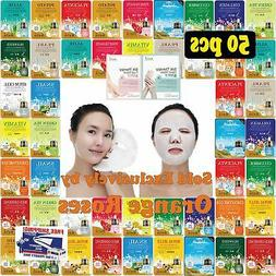 50 pcs Ultra Hydrating Essence Mask, Korean Facial Mask She