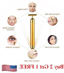 US 24k Gold Beauty Bar Facial Roller Face Vibration Skincare